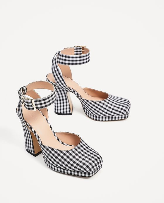 Image 3 of HIGH-HEELED CHECKED PLATFORM SHOES from Zara