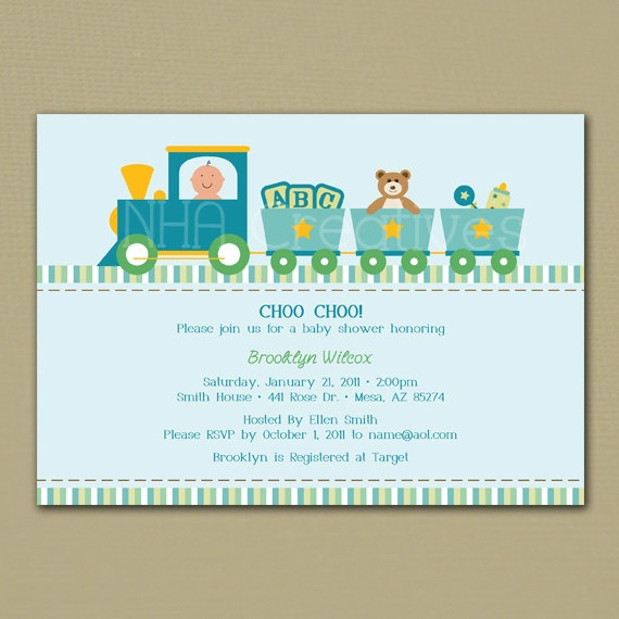 Train Baby Shower Invitation  Baby Boy  by NHACreatives on Etsy, $12.50