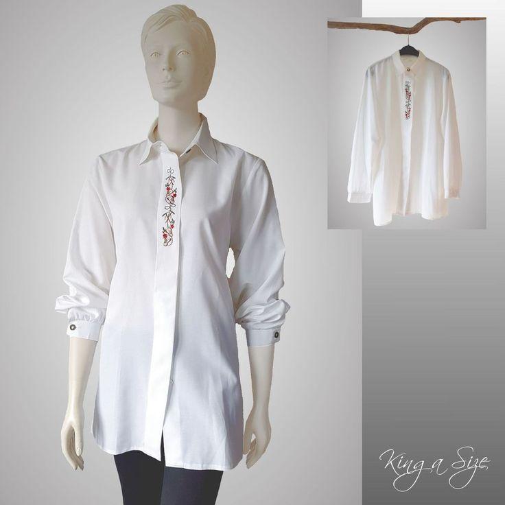 Miss Astor - Trachten Bluse bestickt Hemdbluse Hemd Lange Arm Gr.44 weiß