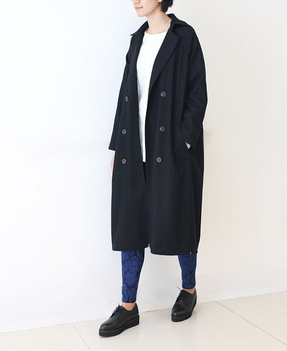 Black cashmere coat thin loose trench coat by lanbao on Etsy