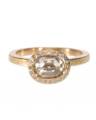 Todd Reed 1.22-carat oval-cut white diamond ring in an 18-karat rose-gold setting