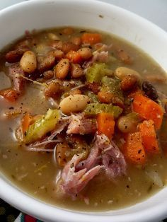 Smoked Ham Hock with Beans and Vegetables - 10/30/16. I tweeked. Very good. 3 cups–Dried Pinto Beans (cleaned); 1 lg.–chopped onion; 3 lg.–chopped stalks celery; S/P; 1- 2– Ham Hocks (or pork substitute); 7 cups–water; 5–6–sliced garlic cloves; 2–chopped carrots (optional); 1 tsp.–thyme; 2- 3 bay leaves; 1 can–Rotel; 1–chopped jalapeno. Combine first 10 ingredients in crock pot. Cook on high for minimum of 8 hours. Last 30 minutes of cooking time, add Rotel and jalapeno.