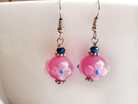 Opal Pink Lampwork Earrings Floral Glass by GlassHouseLampwork