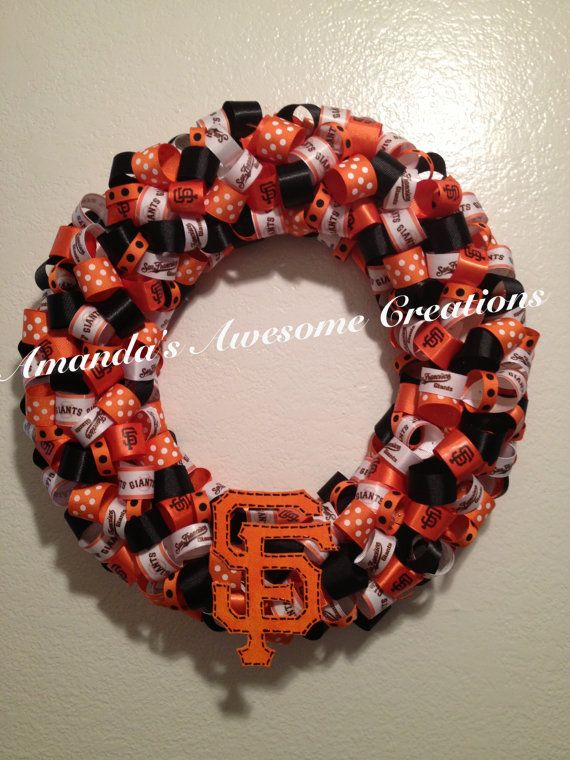 SF Giants Ribbon Wreath 2 on Etsy, $35.00 (or basically do it in Any color for Your team)