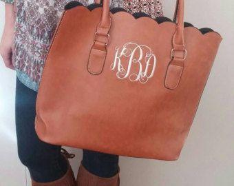 Monogrammed scalloped purse/handbag/ tote by JDBcorner on Etsy
