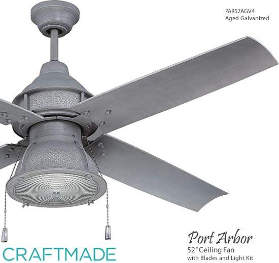 Par52agv4 Aged Galvanized Craftmade 52 Port Arbor Complete