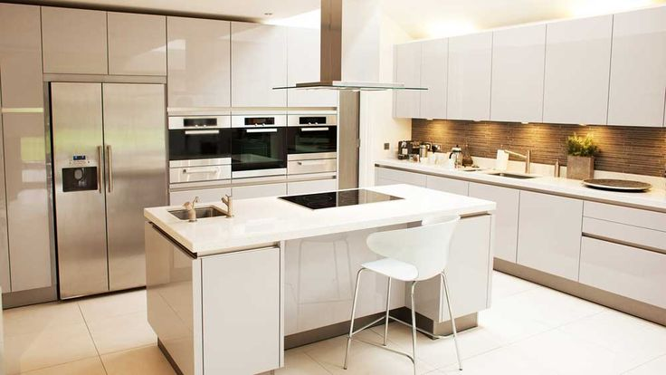New York Modern Kitchen Design Ideas with stainless steal refrigerator and brown tile backsplash