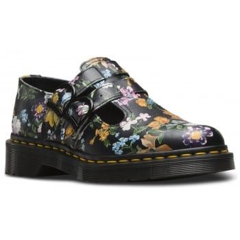 Darcy, an existing archive floral has been re-designed and updated with multi-coloured bloom featured on a rich background. As well as its bold botanical update, Darcy Floral T-Bar Features all the traditional Dr Martens Details including double buckle fastening, air-cushioned soles and durable sole.