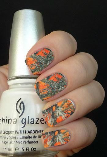 Best 25 camouflage nails ideas on pinterest camo nails camo full orange camouflage nail art decals nail by ilovenaildecals 450 prinsesfo Choice Image