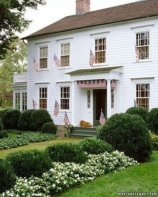 Martha Stewart...perfect: White Flowers, White Houses, American Flags, New England, Style, Curb Appeal, 4Th Of July, Martha Stewart, Landscape