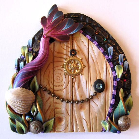 Mermaid Tale Fairy Door Pixie Portal in Orchid Pink by Claybykim