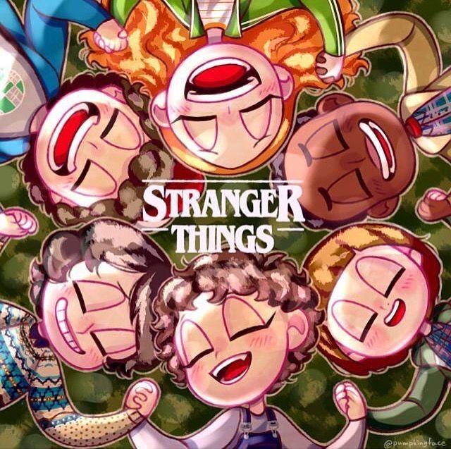 Ilustração de Stranger Things de mãos dadas