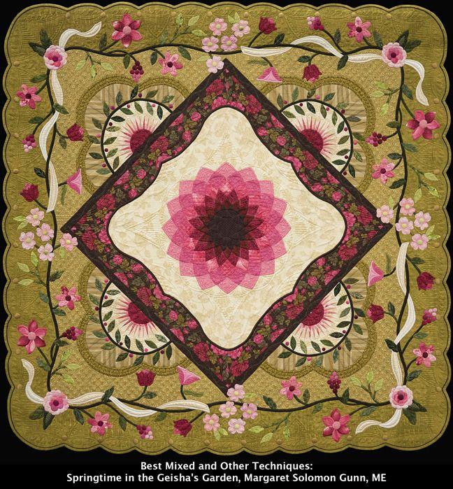 Springtime in the Geisha's Garden, Margaret Solomon Gunn. Best Mixed and Other Techniques. 2015 Vermont Quilt Festival.