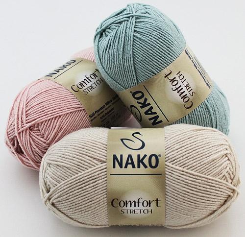 NAKO Comfort Stretch  Karışımı(Hammaddesi): %90 Premium Mikro Akrilik, %10 Polyester  Yumak Gramajı: 50,00 gr.  Etiket Metrajı: 193,00 mt.  Mevsim: Her Mevsim  Nerede kullanılabilir:  Hırka, kazak, şal, ev tekstili, atkı, bere vb. aksesuar malzemeleri