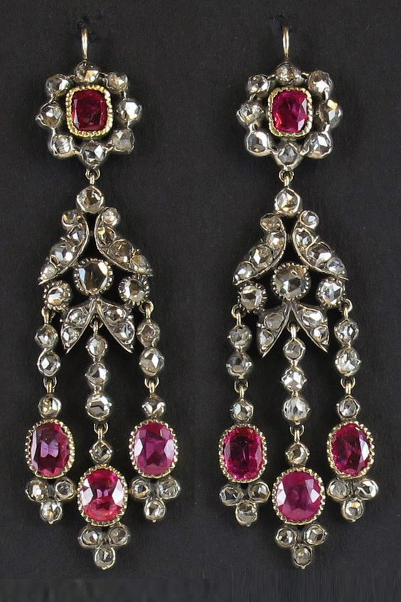 A pair of antique gold, silver, diamond and ruby earrings, Italian, late 19th century. #antique #earrings
