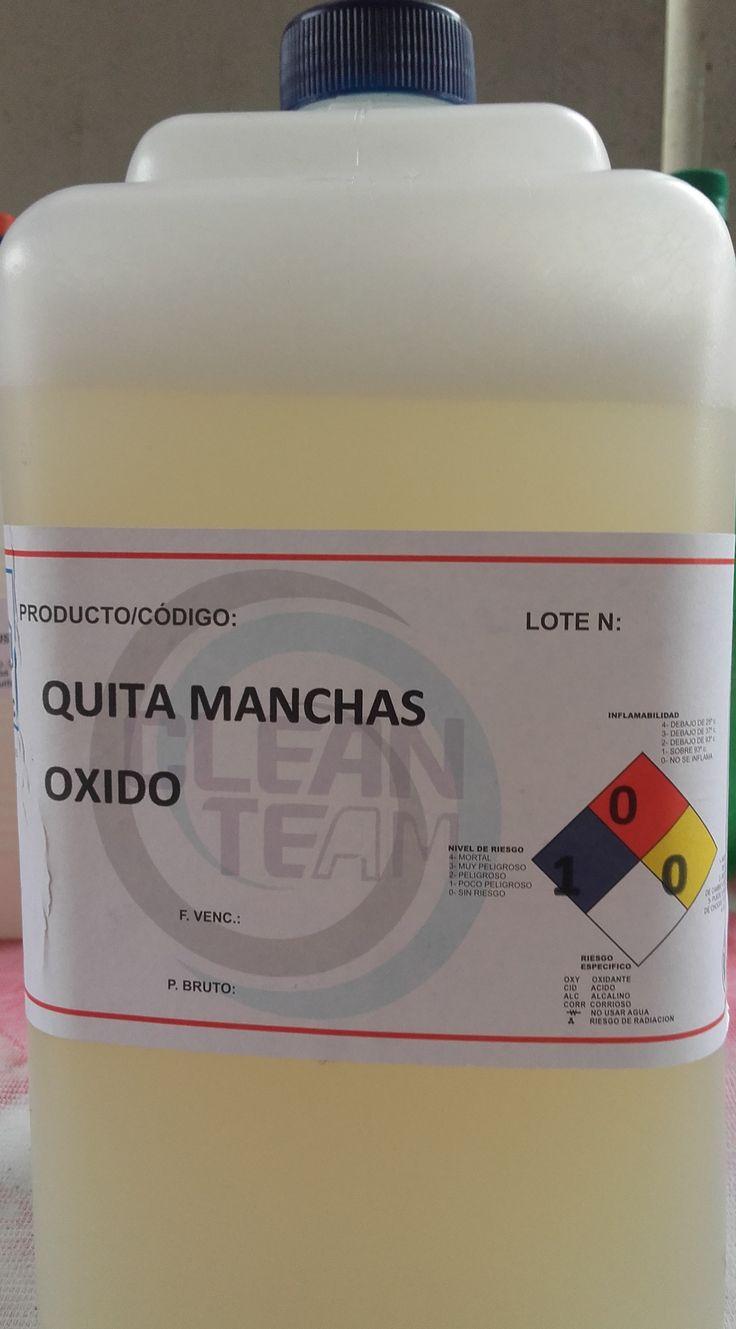 Producto de limpieza de desmanchado formulado para eliminar manchas de óxido en los textiles.