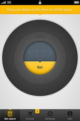 Anywake alarm clock iPhone app interface, Lufthansa.