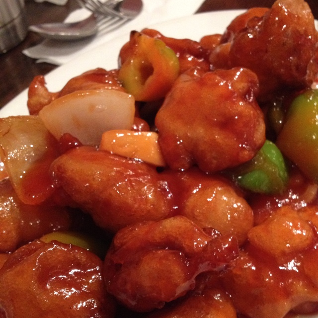 Crispy battered pork with sweet and sour sauce