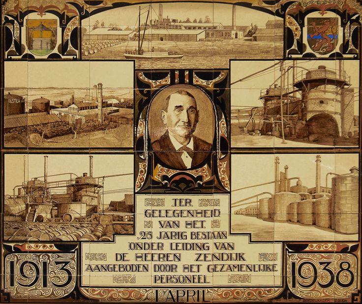 Tableau van 42 keramische tegels bij het 25-jarig bestaan van de N.V. Olster Asfaltfabriek, door Goedewaagen in Gouda, 1938 - Geheugen van Nederland