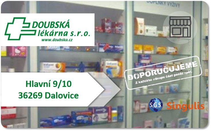 NOVÝ OBCHODNÍ PARTNER V KARLOVÝCH VARECH  DOUBSKÁ LÉKÁRNA - KARLOVY VARY  V naší lékárně nabízíme jak léky na recept, ta volně prodejné.  Z volného sortimentu nabízíme např.   -Potravní doplňky -Čaje -Kosmetika,hygiena -Bezlepkové potraviny -Zdravotnické prostředky -Homeopatika -Veterina -a další  http://www.singulis.cz/pages/obchodnik.aspx?cla_id=44872
