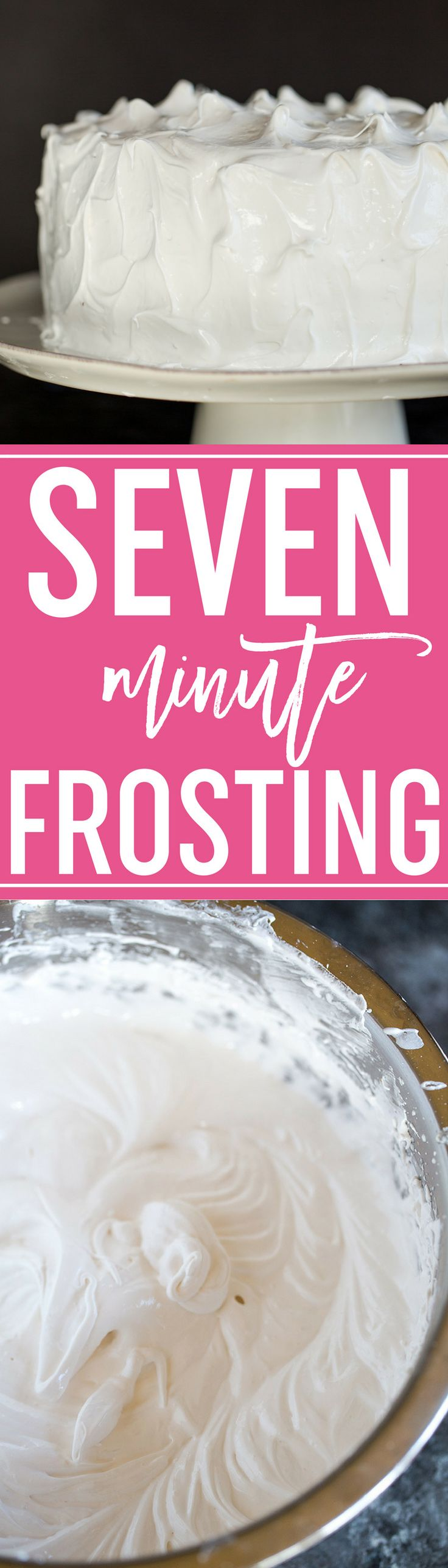 7 Minute Frosting :: The classic meringue or marshmallow-like frosting that is light, fluffy, and holds perfect peaks. Great for cakes and cupcakes! #frosting #icing #sevenminute #cake #easy