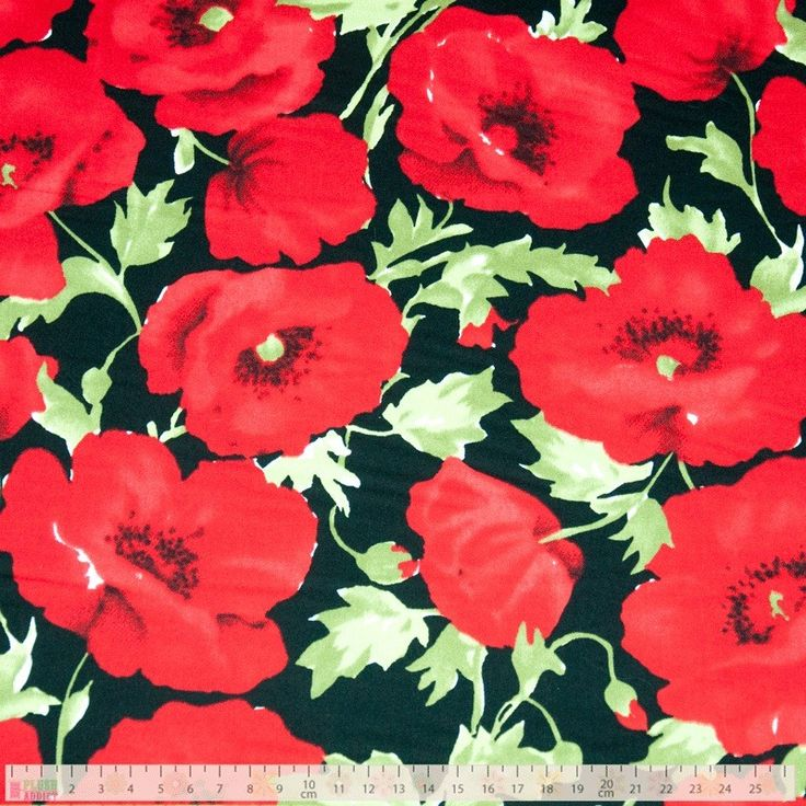 Poppies On Black - cotton fabric
