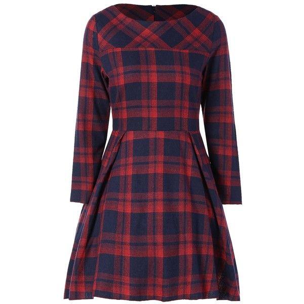 Tartan Plaid Flare Dress (22 CAD) ❤ liked on Polyvore featuring dresses, flare dresses, flared hem dress, purple plaid dress, plaid dresses and tartan dress