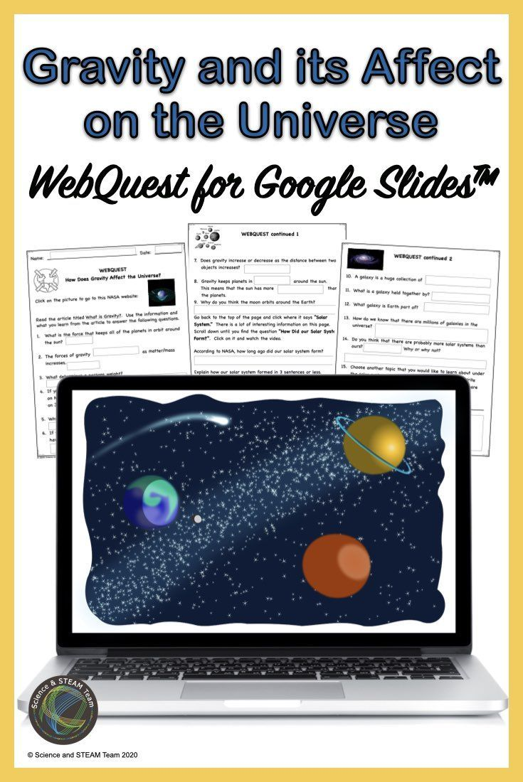 Gravity And Its Affect On The Universe Webquest For Use With Google Slides In 2020 Webquest Universe Middle School Science Resources