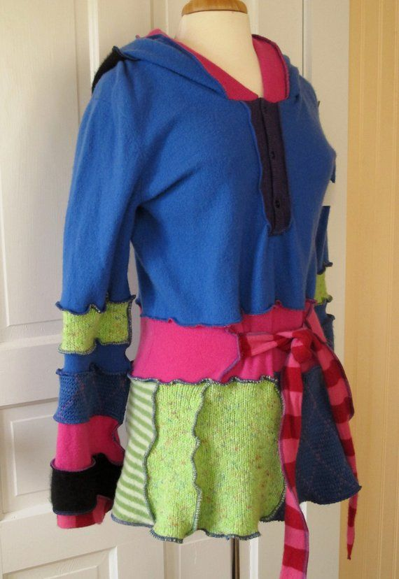Hoodie Pullover Tunic - Eco Friendly Couture - Size Large  3be0af78a