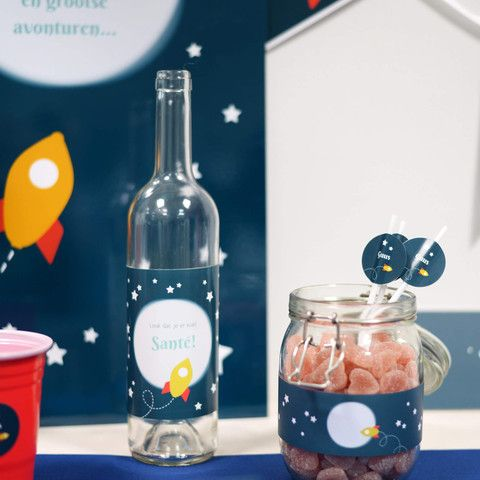 Flesetiketten   Raket Blauw #kinderfeestje #babyborrel #bottlesticker #rocket #Beaublue