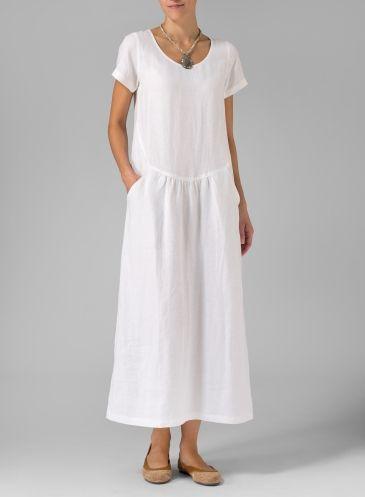 Linen Short Sleeve Dress Black