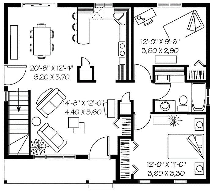 Two Bedroom House Plans Inspiration For The Small Stunning Design With Best Decoration Interior