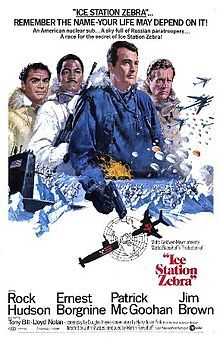 Ice Station Zebra (film) poster.jpg.. This was a cold war movie from 1968.  The former Cleveland Browns player, Jim Brown was in this movie,