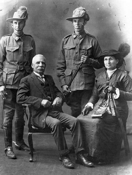 Two young Australian Light-horsemen photographed with their family.