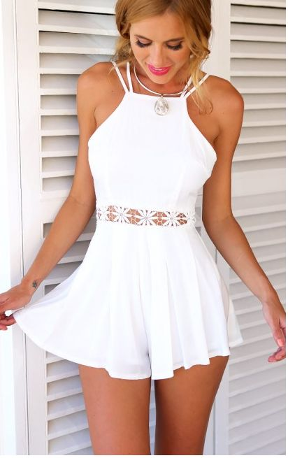 Sleeveless short jumpsuit with backless and spaghetti strap,was so popular in summer time. Speacial lace waist and wave stripe pattern make this jumpsuit unique and sexy. Buy unique jumpsuit, make you