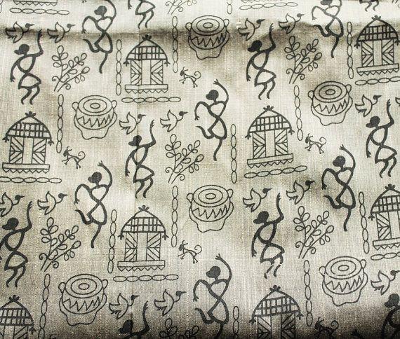 FAT QUARTER or YARDAGE -  Grey Indian cotton silk  - Traditional Warli Art  tribal print fabric - Yardage available