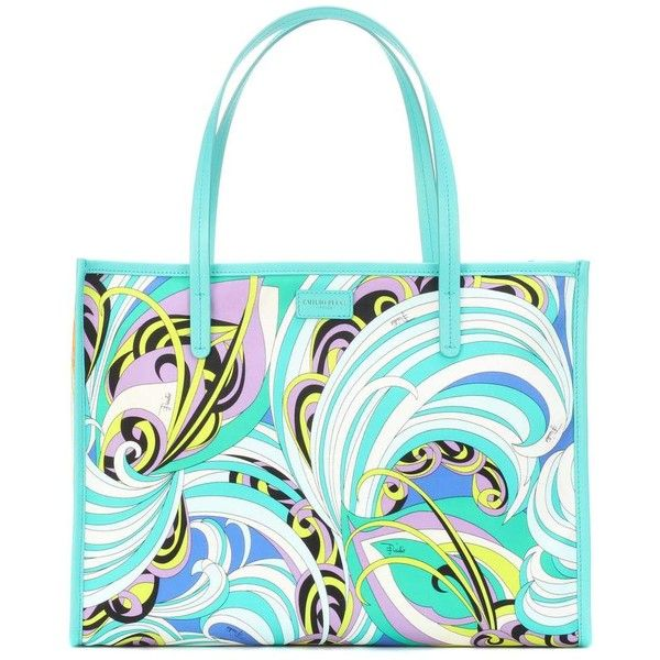 Emilio Pucci Printed Twill Shopper ($630) ❤ liked on Polyvore featuring bags, handbags, tote bags, multicoloured, white purse, white shopping bags, multi coloured handbags, multicolor handbags and white tote bag