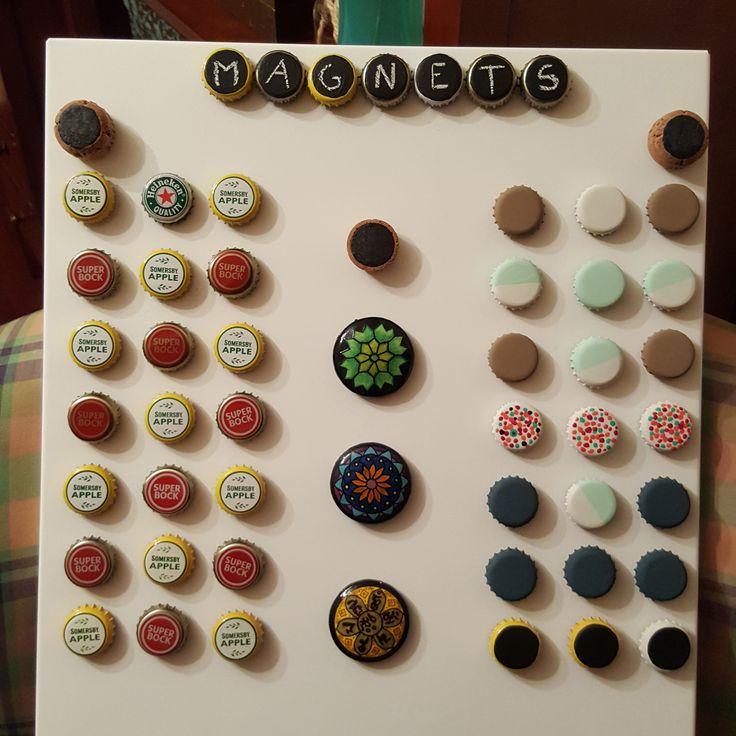 #magnets #fridgemagnets #Chalkpaint #DIY #project #ideas #bottlecap  #crafts #