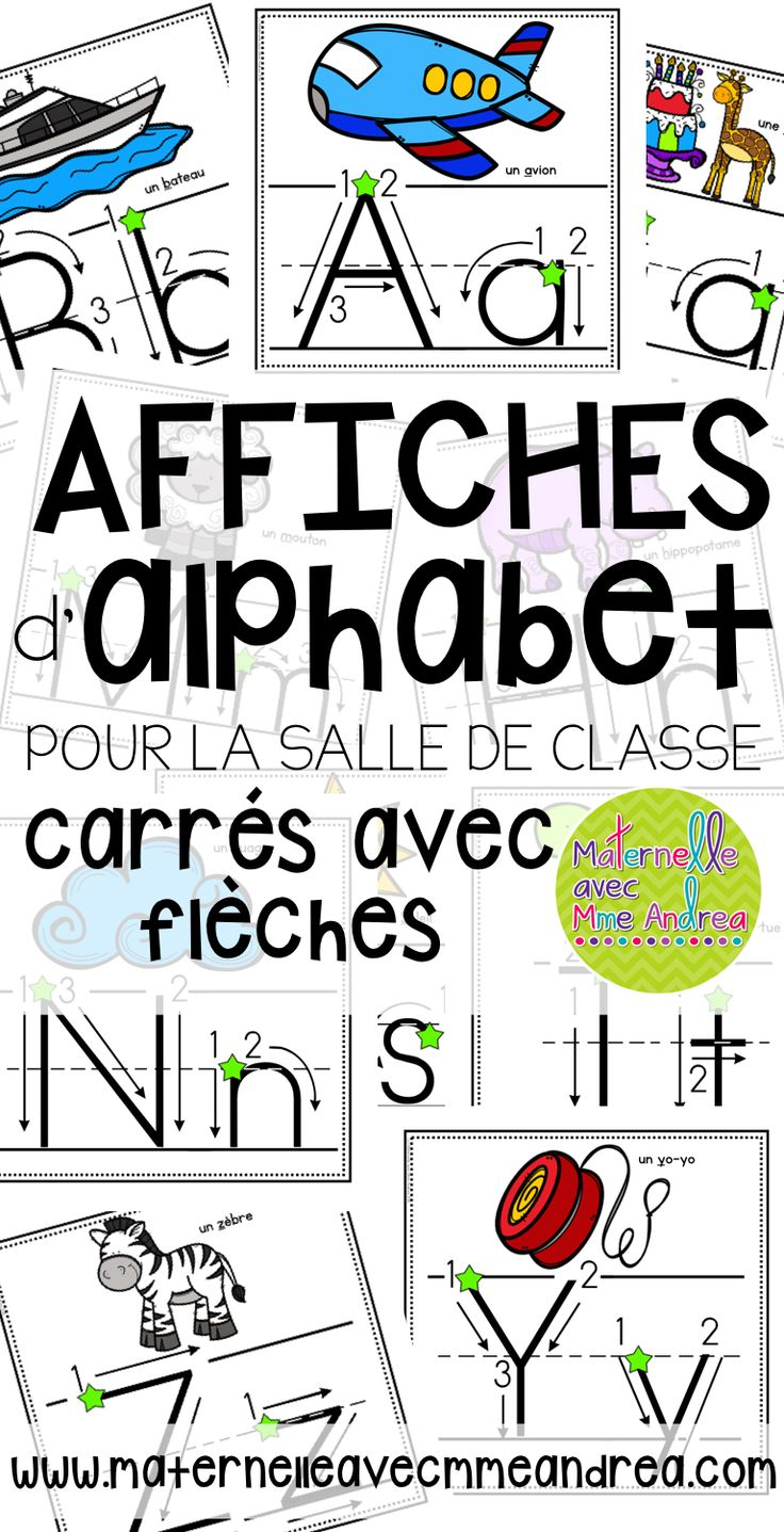 Affiches d'alphabet - carrés avec flèches pour montrer comment bien écrire chaque lettre   FRENCH alphabet posters - squares with arrows   maternelle   salle de classe