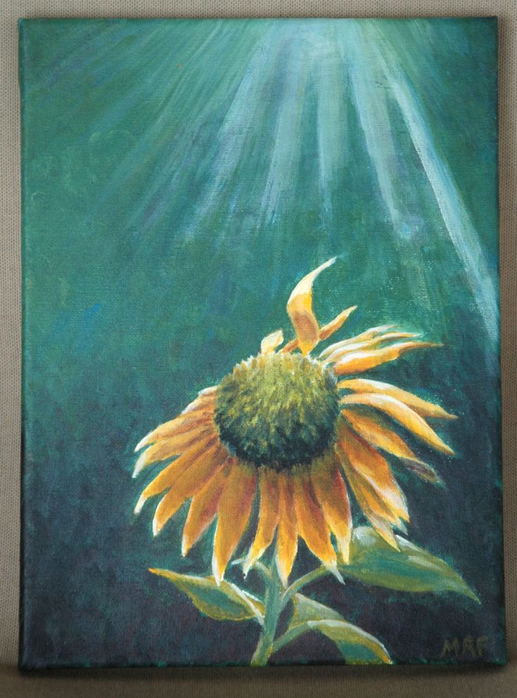 """Hope Sunflower Original Acrylic Painting 9"""" x 12"""" by dragonbee on Etsy"""
