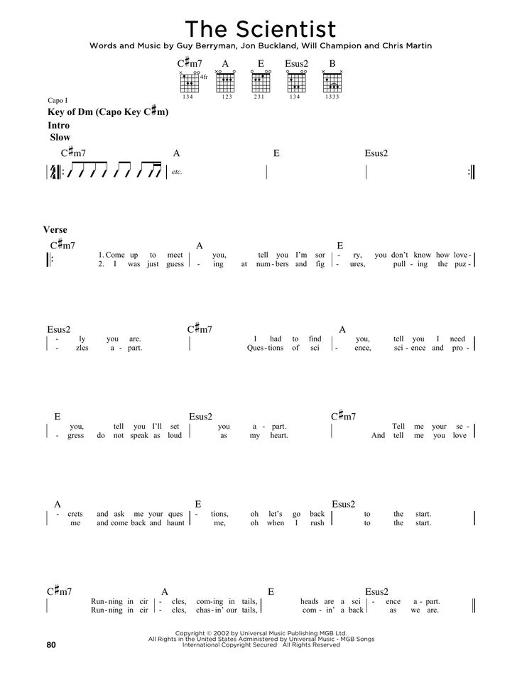 Coldplay The Scientist Sheet Music Notes Chords Download