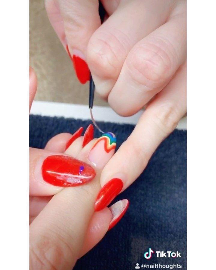 Rainbow Nail Swirl Design In 2020 Nail Art Designs Summer Rainbow Nails Cool Nail Designs