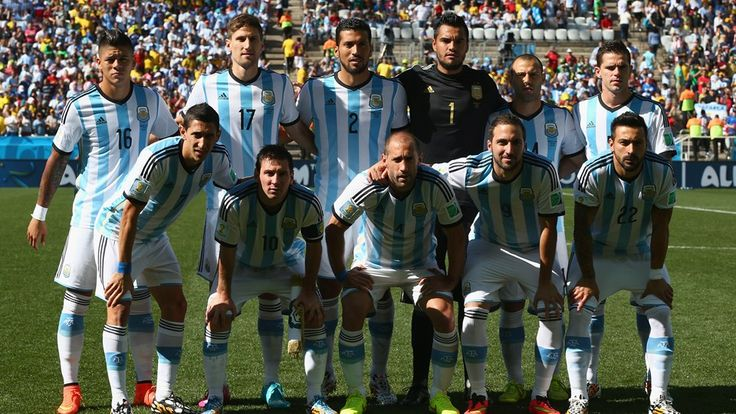 Argentina players pose for a team photo prior to the 2014 FIFA World Cup Brazil Round of 16 match between Argentina and Switzerland