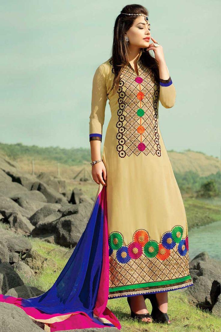 #Andaazfashion presents Cream Georgette Churidar Suit With Dupatta  http://www.andaazfashion.co.uk/salwar-kameez/churidar-suits