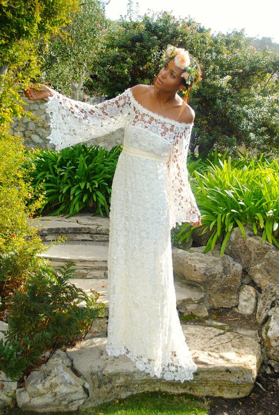 handmade BELL SLEEVE crochet lace bohemian wedding dress / off shoulder / BOHO hippie wedding long lace dress / vintage inspired 70s style on Etsy, $676.00