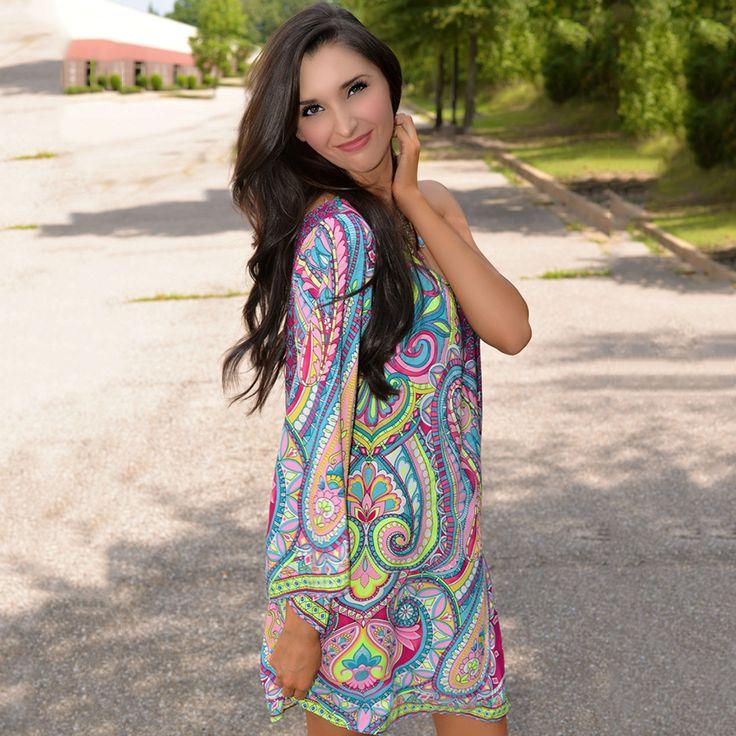Cheap vestido off, Buy Quality dress vestidos directly from China boho dress Suppliers: 2017 Summer Hot Sale Bohemian Style Dress Women Floral Print One Off The Shoulder Vintage Indian Boho Dress  Beach Dress Vestido