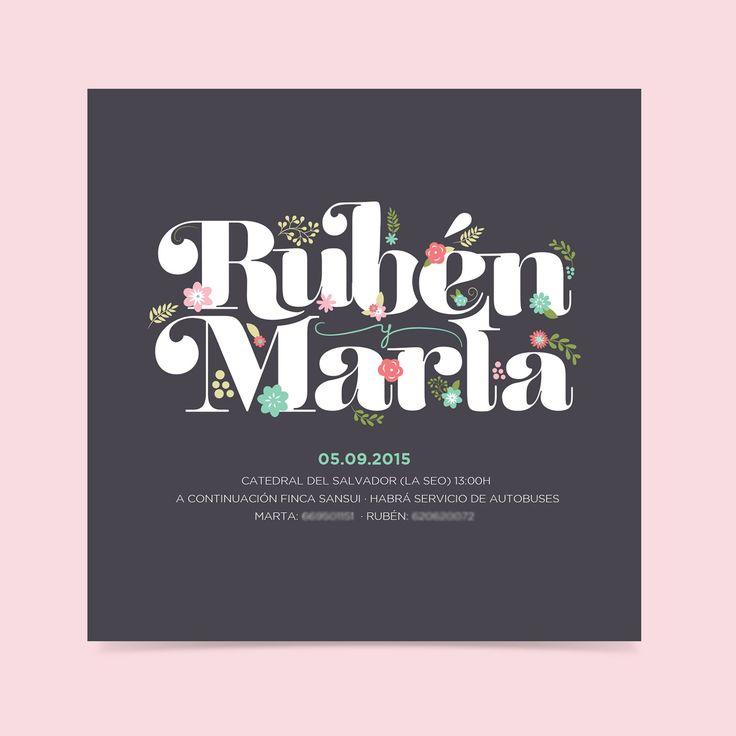 Invitación de boda tipográfica de estilo romántico diseñada para Bodas de Cuento