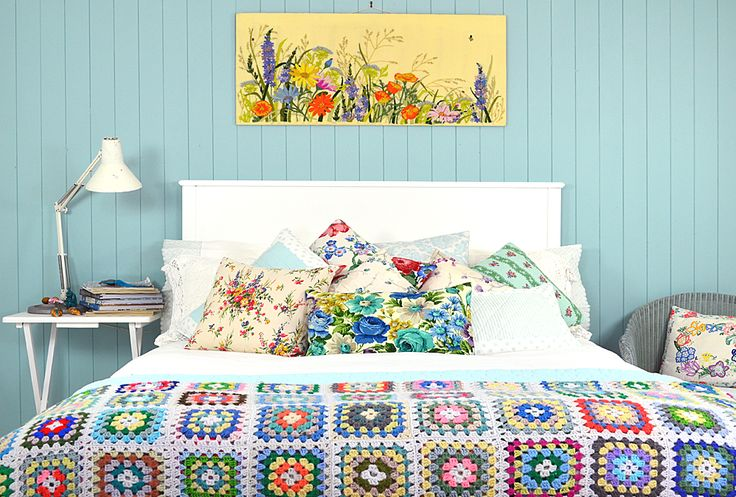 Colour palette ideas for guest bedroom - duck egg blue, white, pops of brights. The vintage cushions and granny square blanket I could make (adds to list...)