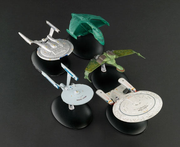 65+ New Star Trek Ships Taking Flight:  Eaglemoss Collections will release a new collection of more than 65 – yes, 65! – high-quality, die-cast model Star Trek ships. The ambitious, even unprecedented effort will include nine different versions of the Enterprise, an array of Romulan, Klingon, Dominion and Ferengi vessels, the rare Cardassian Hideki class, the Krenim Temporal Weapon and the Equinox, plus the fan favorite Akira class.