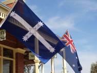 The Eureka flag flying at Glenrowan, Victoria